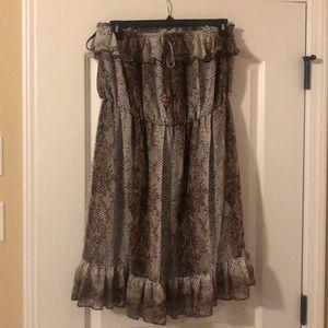 Strapless Snake Print Dress